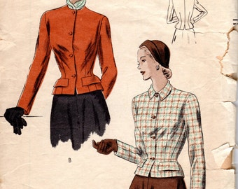 1940s Fitted Jacket Pattern - Vintage Vogue 6217 - Bust 30