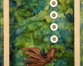 Luck Bubbles Up:  Encaustic Painting, assemblage art, Feng Shui wall art, home decor, green,wood, white by Leslee Lukosh of Foundturtle