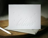 Letterpress Christmas Cards - Believe holiday cards