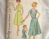 1950s Simplicity 2847 Button Front Collared Bow Dress Vintage Sewing Pattern Bust 42
