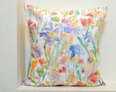 Patch of Fleurs Watercolor Floral Pillow Covers, 18x18, 20x20, 24x24, Designer Floral Fabric, Watercolor Flowers Pillow Accent