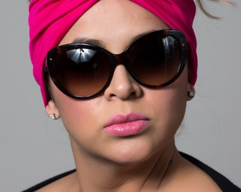 hot pink wide twist headband turban