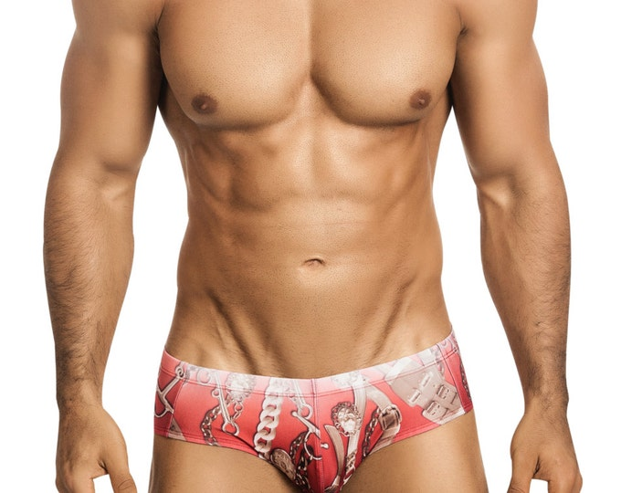 Vuthy Sim Men's Brief Swimwear in Red Faded Belts Print with Front Pouch - 152-3