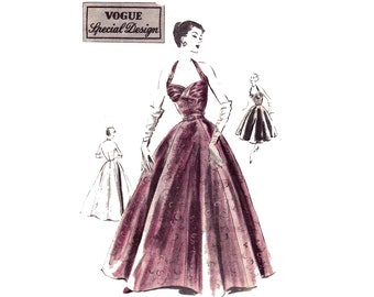 Vogue Special Design S-4270 Halter Cocktail Wedding Prom Gown Gathered Bodice 50s Vintage Sewing Pattern Size 14, 16 Bust 32, 34 inches
