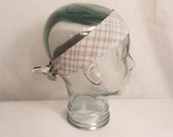 SALE: Plaid Head Wrap Headband Hair Tie Aqua Blue Brown Stripe hair bow cotton