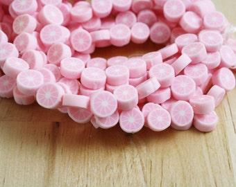 10 Polymer Clay Lemon Slices Beads Fruit Light Pink 10mm [BEA4051] SALE