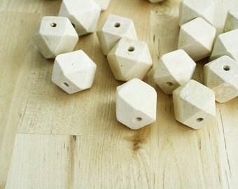 10 Geometric Wood Beads Natural Wooden Beads 20mm [BEA4060] [BIN4B]