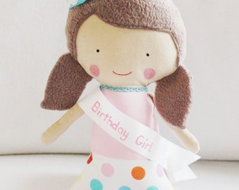 Birthday Girl Doll Pattern - Rag Doll Sewing with hat and sash