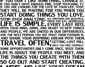 This Is Your LIFE 28x33 Vinyl Decal Home Decor Door Wall Lettering Words  Quotes