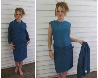 Vintage 60s Blue Print Dress Sleeveless with Jacket M L XL