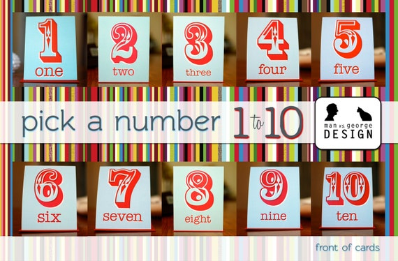 Pick a Number 1 - 10 Birthday or Anniversary Cards in Red & Aqua Blue on 100% Recycled Paper