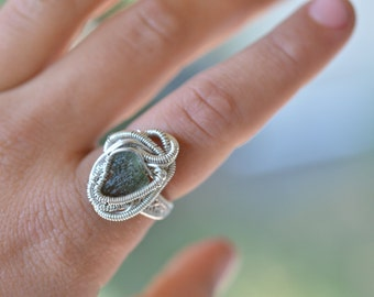 Moldavite Wire Wrapped Ring with Sterling Silver size 6