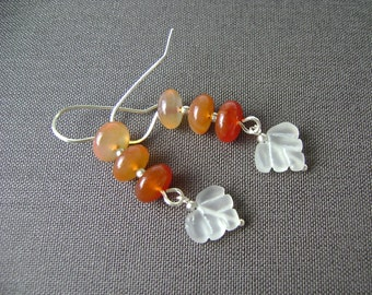 Red Agate Earrings, Leaf Earrings, Carved Crystal Quartz, Sterling Silver, Yellow, Orange, Red, Gradated Agate, Autumn, Fall, 846
