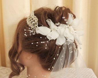 Vintage Ivory Faux Pearl Glass Aurora Borealis Beads and Rose Bud Bridal Wedding Head Piece Crown Tiara Princess Style