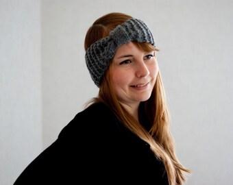 Turban headband in gray hand knit headband autumn accessory