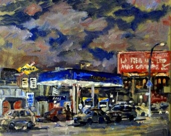 Red Sky at Night, New York City Nocturne. Original 12x12 Oil Painting, Urban NYC Impressionist Fine Art, Signed Original American Realism