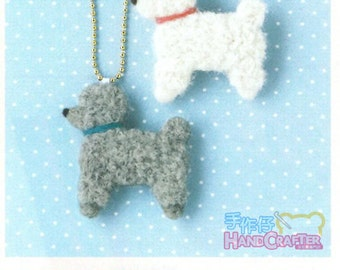 DIY handmade felt wool Toy Poodle ornaments and brooches  --- Japanese kit package H441-376