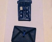 TARDIS and and Invitation Button Set - Rainy Day Buttons