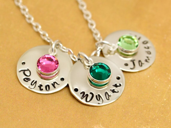Mommy Personalized Necklace Three Names, Hand Stamped Jewelry, Mothers Jewelry Custom Neckace, Mom, Mommy, Mother, Birthstone