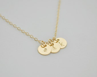 Three Gold Discs Necklace - tiny gold filled dot small initial charm pendant hand stamped sweet gift for her simple everyday jewelry