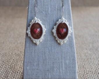 Ceramic Jewelry, Handmade Porcelain Earrings, Plum Hearts, Mrs Peterson Pottery