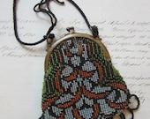 small vintage beaded purse - brass frame, art nouveau floral, needs repair