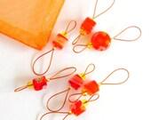 Bead Knitting Stitch Markers - Set of 7 - Orange Cube Millefiori