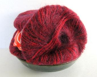 Vintage COLORI Yarn - Mohair / Acrylic / Wool Blend Yarn - 6 Skeins Deep Red