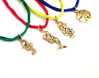 Bronze Charm Silk Wrap Wish Bracelet