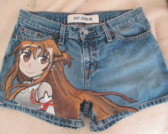 Asuna, Sword Art Online, Asuna shorts, customized painted jeans, painted jeans, anime, anime drawing, anime clothes, hand drawn,