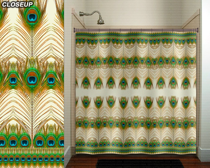 Bohemian Feather Peacock Shower Curtain Bathroom Decor Fabric