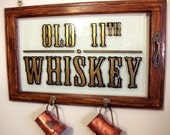 Old 11th Whiskey Sign: hand lettered & gilded, salvaged materials
