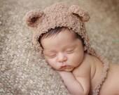 Newborn photo prop, newborn hat, newborn boy, newborn girl, knit newborn hat, newborn props, Fluffy bear hat, 13 colors. SUPER soft.
