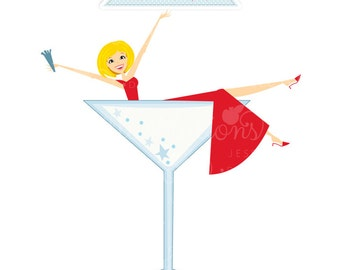 Woman in Martini Glass Character Illustration, Cartoon Illustration, Woman Celebrating, Christmas Character, New Years Party