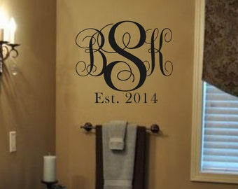 Vinyl Wall Decal-Monogram Initials with Est Date-Vinyl Wall Decal Lettering Decor  Wedding Gift