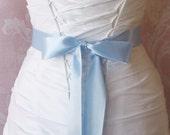 Sky Blue Double Face Satin Ribbon, 1.5 Inch Wde Ribbon Sash, Light Blue Bridal Sash, Powder Blue Wedding Belt, 4 Yards