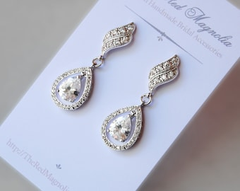 Delicate Crystal Earrings, Cubic Zirconia Bridal Earrings, Rhinestone Earrings, Vintage Style - LARA