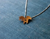 Copper Dachshund necklace, sterling silver hand cut pendant, with heart, tiny dog breed jewelry