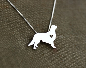 King Charles Cavalier spaniel, sterling silver necklace, hand cut pendant