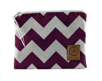 Snack Size Reusable Bag - Purple and White Chevron Stripe