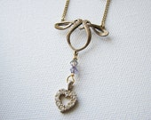 Heart necklace gold | small | rhinestone | celtic | art nouveau