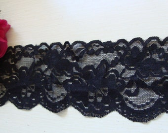 """2 yards of 3 1/2"""" width ( 89 mm ) shimmery floral black stretch lace trim for lingerie headband scalloped lace ST"""