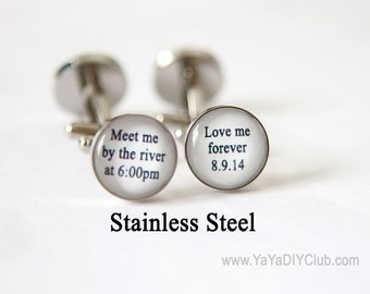 Groom Cuff Links, Lake Wedding Cuff links Personalized, Bride to Groom Gift idea, Bride to Groom Gift - meet me by the river