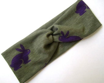 Twisted Turban headband Bunny Print