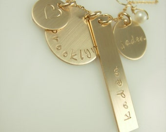 All in one Personalized Necklace - Handstamped Necklace