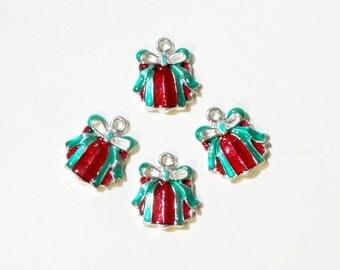 Silver Christmas Charm - Gift Box Charm - Red Green Christmas Pendant - Gift Box Shape Charm Beads - (10) Pcs Christmas Earrings Components