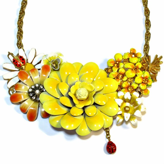 Repurposed Vintage Yellow Flower Necklace, Statement Necklace, Upcycled Jewelry, One Of A Kind