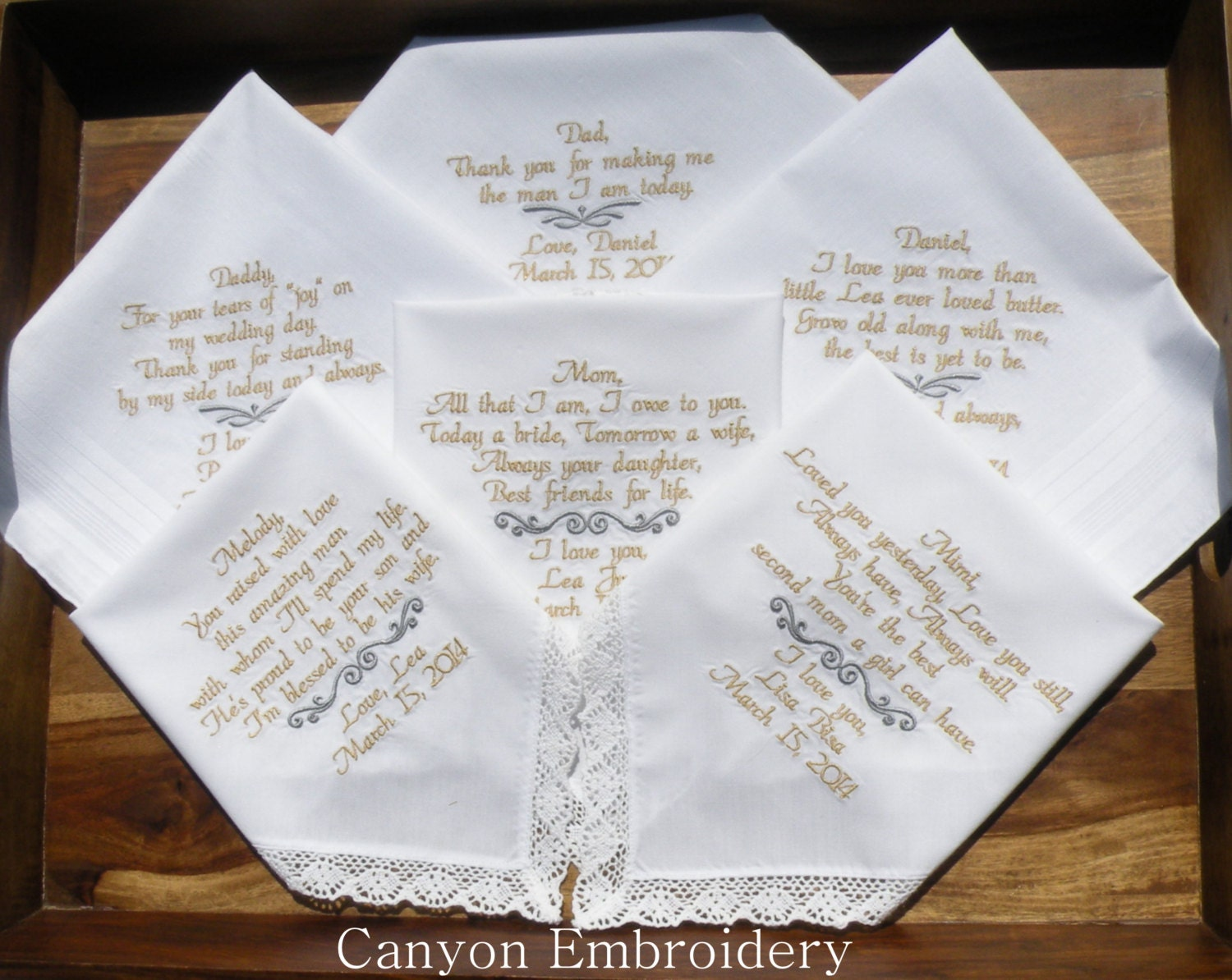 Wedding Gift Ideas Embroidered : Embroidered Wedding Handkerchiefs Embroidered Wedding Gifts