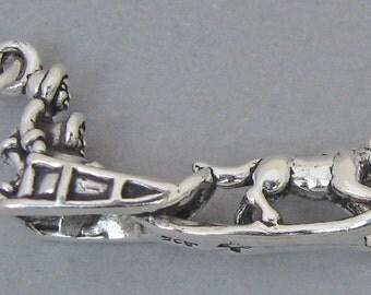 Sterling Silver 925 Charm Pendant 3D Alaska Eskimo DOG SLED 3136