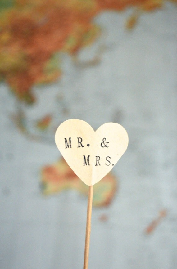 MR. & MRS. cupcake toppers, 12 hand stamped picks - the ORIGINAL handstamped hearts in vintage, red, pink or white